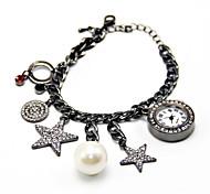 encantadores estrelas pingente de pérola pulseira relógio