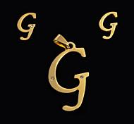 moda europeus e americanos g letter um pingente de letras e ouvido pregos set (sem colar)