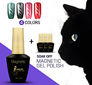 Azure 4Pcs/Lot  Cat Eye Magnetic UV Nail Gel Polish Manicure UV LED Easy Soak Off Gel Polish (#67+#68+#69+#70)