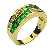 Size 8/9 High Quality Women Green Sapphire Rings 10KT Yellow Gold Filled Ring