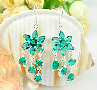 Superb Friend Gift Drop Fire Flower Green Quartz Gem 925 Silver Drop Earrings For Wedding Party Daily Holiday 1Pairs