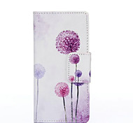 PU Painted Purple Dandelion Wallet Mobile Phone Case for Huawei P8