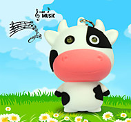 LED Milk Cow Keychain Animal Flashlight Sound Light Key Ring (Random Color)