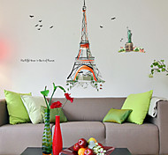 Watercolor Painting Eiffel Tower PVC Wall Sticker Wall Decals