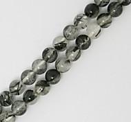 Beadia 39Cm/Str (Approx 52Pcs) Natural Black Rutilated Quartz Beads 8mm Round Stone Loose Beads DIY Accessories