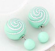 European Style Fashion Wild Candy Colored Spiral Pattern Beads Earrings