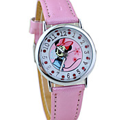 Children's Minnie Pattern PU Band Cute Cartoon Analog Wrist Watch Cool Watches Unique Watches Fashion Watch