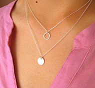 European Style Fashion Simple Metal Circle Multilayer Necklace