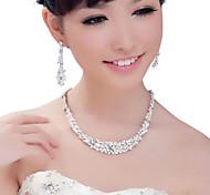 Circonita Plateado Plata 1 Collar 1 Par de Pendientes Para Boda Fiesta Ocasión especial 1 Set Regalos de boda