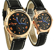 Couple's Classic Dial Leather Band Quartz Analog Wrist Watch
