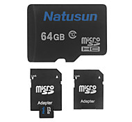 Natusun 64GB Class 10 MicroSDHC TF Memory Card and SDHC Adapter
