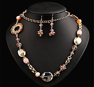 New Women's  Fashion  Hand Woven Crystal Necklace Earrings Exaggerated.