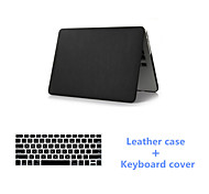 Best Quality 2016 Black PU Leather Fold MacBook Case and Keyboard Flim for MacBook Retina 15.4 inch