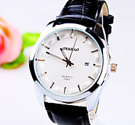 Men's New Simplicity Business Round Dial PC Movement Leather Strap Fashion Calendar Life Waterproof Quartz Watch