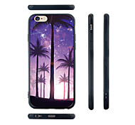 Purple Palm Trees Pattern Transparent Silica Gel Edge Back Case for iPhone 6/6S