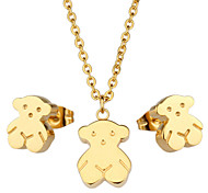 Toonykelly® Stainless Steel Gold Plated Bear Jewelry Set(1set)