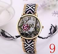 2015  Women Watches Gold Wristwatch Ladies Quartz Watches Geneva Handmade Weave Braided    Flower  Bracelet XR1236