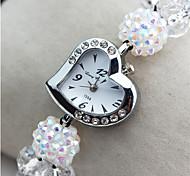 Mode herzförmige Legierung geistigen Glas Kristall geflochtenen Armbanduhr (purplr, pink, schwarz, weiß) (1pc)