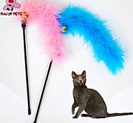 Cat Toy Pet Toys Teaser Feather Toy Bell Random Color Textile