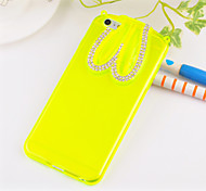 Elegant Decorated Hang Rope Rabbit Ear Scaffold Design Silicone  Hard Back Case for iPhone 6/6S (Assorted Colors)