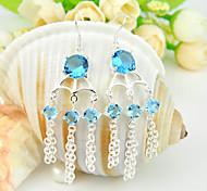 cielo luckyshine amigo don fuego gema azul topacio 0.925 de plata pendientes flor caída de 1pairs alquileres diarios banquete de boda