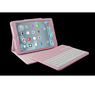 For Case Cover with Stand with Keyboard Flip Full Body Case Solid Color Hard PU Leather for iPad Air 2