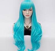 70 centímetros de comprimento ondulado partido mulheres anime cosplay senhora sexy wig harajuku perucas longo partido azul