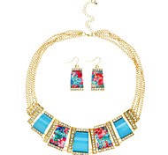Geometry Rhinetone Alloy Priting Flowers Pendant Necklace and Earrings 1 Set