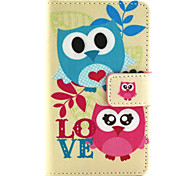 Couple Owl Pattern PU Leather Painted Phone Case For Nokia N435