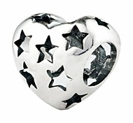 Hollow Star Heart silver beads for bracelet/necklace