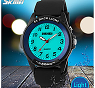 SKMEI® Men's Casual Design Quartz Wrist Watch EL Back Light Black Silicone Strap
