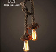 1 Light DIY Art Hemp Rope Light Creative Hemp Rope Chandelier Long 100cm Send 1 Bulb