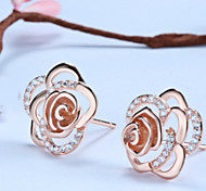 Silver Earrings Sterling Silver Stud Earrings Korean fashion all-match Rose Rose Gold Plated