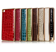 5.2 Inch Metal-Frame and Crocodile Luxury PU Back Cover Case for Huawe P8 (Assorted Colors)