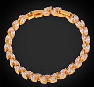 U7® Sparkle Leaf Cut CZ Women Jewelry Bangles 18K Real Gold/Platinum Plated Clear Cubic Zirconia Tennis Bracelets