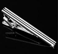 Men's Parallel Stripes Blk Silver Suit Shirt Men's Tie Bar Clip Clasp