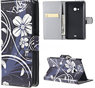 Black Flower PU Leather Wallet Full Body Case with Stand for Microsoft Lumia 540