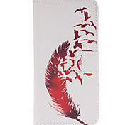 Red Feather PU Leather Wallet Full Body Case with Stand for Wiko Wax