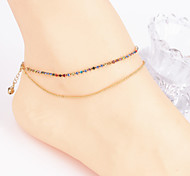 Fashion Women Yoga Dance Simple Micro Zircon Copper Beads Double Anklets (Random Color)
