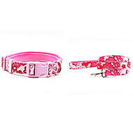 Canvas-The Flower Pattern Pet Dogs Collar and Leash Suit (Assorted Sizes,Colors)