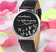 Damen Modeuhr Quartz PU Band Uhr mit Wörtern Schwarz Weiß Weiß Schwarz/Weiß Schwarz Weiß/Weiß