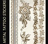 Tatuaggi adesivi - Serie gioielli/Serie fiori - Brand New - Da donna/Girl/Adulto - 1 - Modello - di Carta - 145mm*200mm - Oro -Non