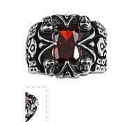 Fashion Individual Men's Red Cubic Zirconia Skull Stainless Steel Ring(Black)(1Pcs)