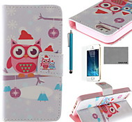 COCO FUN® Santa Owl Lover Pattern PU Leather Case with Screen Protector and USB Cable and Stylus for iPhone 5/5S