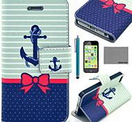 caso corpo Coco fun® barco borboleta padrão de couro pu completo com filme e cabo usb e stylus para iphone 5c