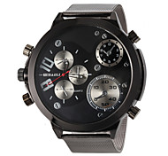 Men's Military Design Fashion Silver Steel Band Quartz Wrist Watch