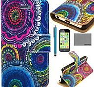Coco fun® floral padrão tribal de couro pu caso de corpo inteiro com o filme e cabo usb e stylus para iphone 5c