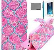 COCO FUN® Red Flower Tattoo Pattern PU Leather Case with Screen Protector and USB Cable and Stylus for iPhone 5/5S