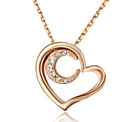 T&C Women's Lovely Jewelry 18k Rose Gold Plated Clear Crystal Heart and Moon Pendant Necklace