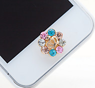 Crown Colorful Zircon Home Button Sticker for iPhone